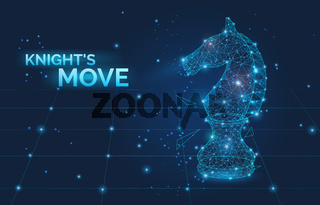 Knight's move sign and low poly Chess horse vector illustration. Symbol of business strategy, promotion, competition and leadership. Polygonal wireframe chess horse with dots and lines
