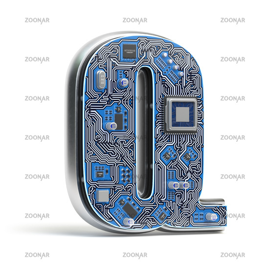 Letter Q.  Alphabet in circuit board style. Digital hi-tech letter isolated on white.