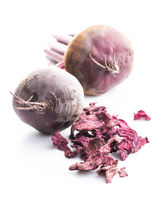 Tasty raw beetroot and dried beetroot.
