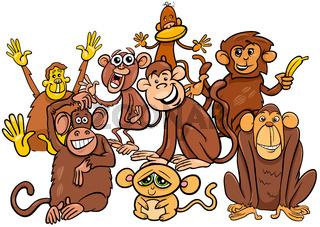 happy monkey cartoon characters group
