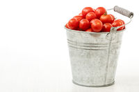 Metal bucket full of organic tomatoes