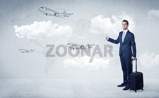 Businessman hitchhiking with airplanes around