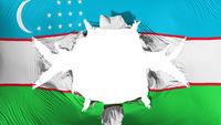 Uzbekistan flag with a big hole