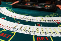 Professional croupier during cards