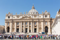 Pope Francis holds a General Audience on st. Peter's square filled with many pilgrims in Rome, Italy