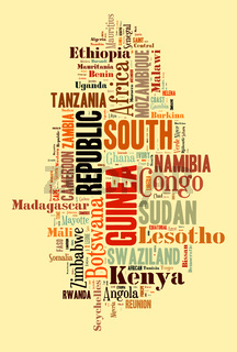 African countries in words cloud