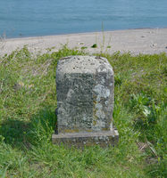 historical Myriameter Distance Stone at Rhine River near Neuss,North Rhine westphalia,Germany