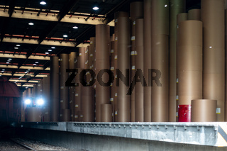 Large Paper Roll Storage Warehouse Forklift Headlights Industrial Equipment Manufacturing