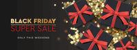 Black Friday Super Sale. Black gift box on dark background, design 2020. Vector illustration.
