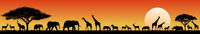 African savanna animals at sunset