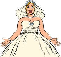 Joyful happy bride in wedding dress