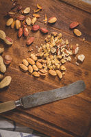 Dry fruits on wooden table