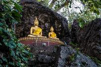 Buddhas along Cave on Holy Mountain Mount Phousi, Luang Prabang, Laos
