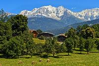 The snow-covered Mont Blanc massif, Megeve, Haute-Savoie, France