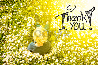 Blonde Child, Daisy Flower, Calligraphy Thank You