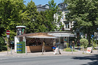 small typical kiosk in the north of frankfurt am main germany