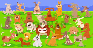 dogs cartoon characters huge group