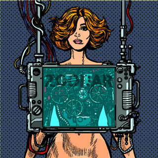 Cyberpunk naked robot woman virtual reality concept
