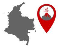 Karte von Kolumbien mit Anzeiger für Vulkan - Map of Colombia with volcano locator