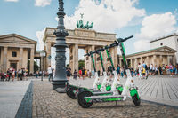 Electric E scooter , escooter or e-scooter of the company LIME parked at Brandenburger Tor in Berlin