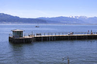 Bathing pier of the roman bath in Lindau, Lake Constance, landscape