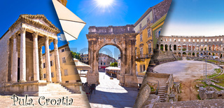 Town of Pula historic Roman landmarks panoramic collage tourist postcard with label view