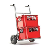 Bottles with soda or cola in the red strage crate for bottles on hand track. Drink sales and delivery concept