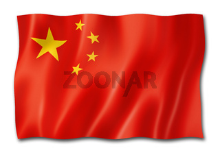 Chinese flag isolated on white
