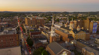 Aerial Perspective Over Downtown City Center York Pennsylvania at Sunset