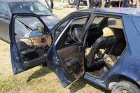 Car crash fire aftermath