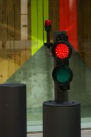 Bollard with traffic light