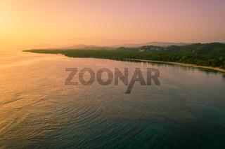 aerial view of bahia beach at sunrise