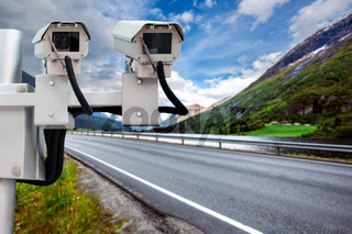 Radar speed control camera on the road