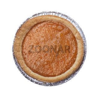 pumpkin pie on white background