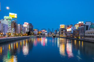 Twilight view of Naka River in Hakata, Fukuoka, Japan