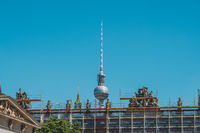The television tower (Fernsehturm) behind  the German Historic Museum in Berlin