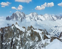 Mont Blanc mountain massif view from Aiguille du Midi Mount, France
