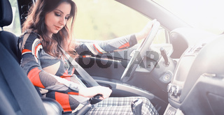 Girl driving a car bad emotions