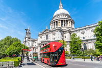 Red bus and St Paul Cathedral in London