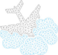Aircraft Falls into Clouds Polygonal Frame Vector Mesh Illustration