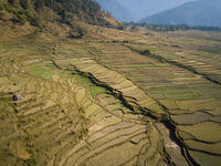 Aerial view of rural landscape in Nepal