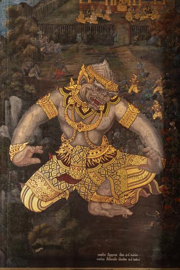 Golden giant in Wat Phra Kaew murals