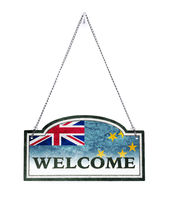 Tuvalu welcomes you! Old metal sign isolated