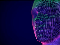 Virtual reality or cyberspace concept: wireframe of male face.