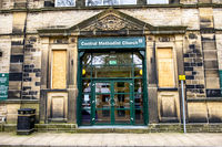 Todmorden / England - May 04 2018 : The Methodist church os working from the centre of Todmorden which meaning is death killing or slaughtering in German