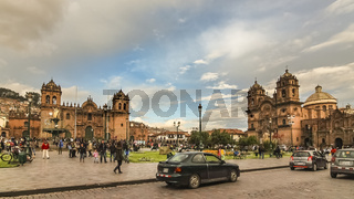 Plaza de Armas with Church of the Society of Jesus on the right and Cusco Cathedral on the left