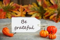 Label With Text Be Grateful, Pumpkin And Leaves
