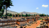 Ruins of ancient city Anjar in Bekaa valley, Lebanon