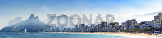 Panoramic image of the beaches of Ipanema and Leblon in Rio de Janeiro
