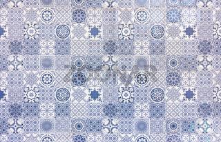White and blue azulejos texture
